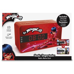 Miraculous LadyBug y Cat Noir - Radio FM despertador con doble alarma, color rojo